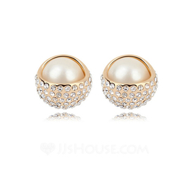 Gorgeous Champaign Gold Plated With Pearl Ladies' Earrings (011053699)