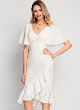 Trumpet/Mermaid V-neck Asymmetrical Stretch Crepe Cocktail Dress With Cascading Ruffles (016212849)