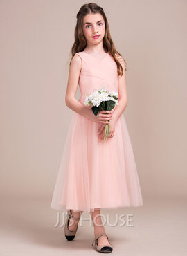 A-Line/Princess V-neck Tea-Length Tulle Junior Bridesmaid Dress With Ruffle (009081123)
