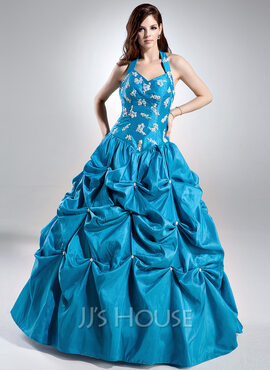 Ball-Gown Halter Floor-Length Taffeta Quinceanera Dress With Ruffle Beading Appliques Lace Sequins