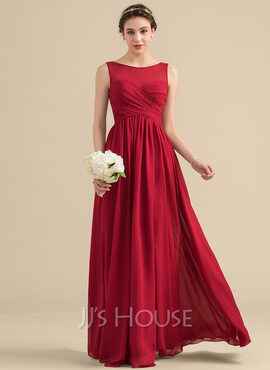 A-Line/Princess Scoop Neck Floor-Length Chiffon Bridesmaid Dress With Ruffle (007153345)