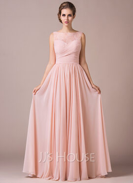 A-Line/Princess Scoop Neck Floor-Length Chiffon Prom Dresses With Ruffle (272177463)