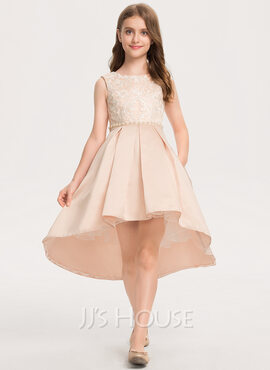 A-Line Scoop Neck Asymmetrical Satin Lace Junior Bridesmaid Dress With Beading Pockets (009208575)