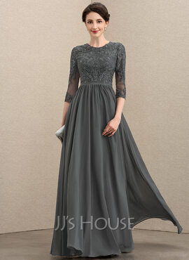A-Line Scoop Neck Floor-Length Chiffon Lace Mother of the Bride Dress With Sequins (008195397)
