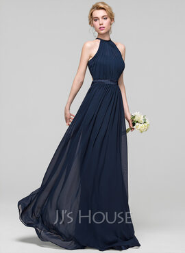 A-Line/Princess Scoop Neck Floor-Length Chiffon Bridesmaid Dress With Ruffle (007090150)