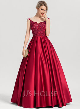 Ball-Gown/Princess Scoop Neck Floor-Length Satin Evening Dress With Sequins (017153632)