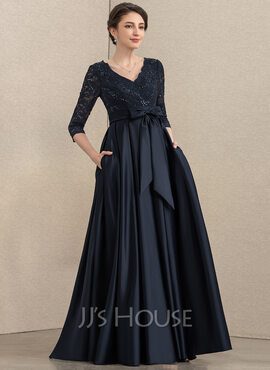 A-Line V-neck Floor-Length Satin Lace Mother of the Bride Dress With Sequins Bow(s) Pockets (008195408)