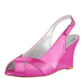 Women's Silk Like Satin Wedge Heel Peep Toe Wedges