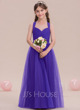 A-Line Sweetheart Floor-Length Tulle Junior Bridesmaid Dress With Ruffle (009119594)