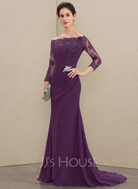 Trumpet/Mermaid Off-the-Shoulder Sweep Train Chiffon Lace Mother of the Bride Dress With Beading Sequins (008179184)
