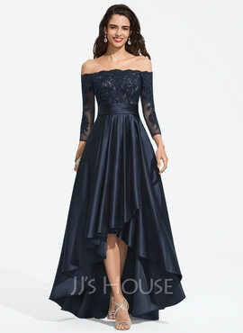 A-Line Off-the-Shoulder Asymmetrical Satin Prom Dresses (018187198)