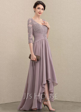 A-Line V-neck Asymmetrical Chiffon Lace Mother of the Bride Dress With Sequins (008197130)