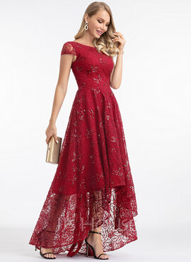 A-Line Scoop Neck Asymmetrical Lace Evening Dress (017198666)