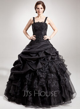 Ball-Gown Square Neckline Floor-Length Taffeta Organza Quinceanera Dress With Beading Appliques Lace Sequins Cascading Ruffles