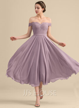 A-Line/Princess Off-the-Shoulder Tea-Length Chiffon Lace Bridesmaid Dress With Beading Sequins (266186182)