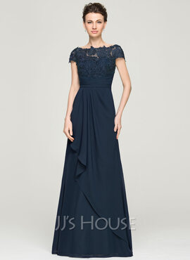 A-Line Scoop Neck Floor-Length Chiffon Lace Mother of the Bride Dress With Cascading Ruffles (008062568)