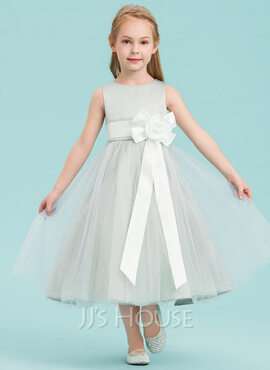 A-Line Tea-length Flower Girl Dress - Satin/Tulle Sleeveless Scoop Neck With Bow(s) (010143241)