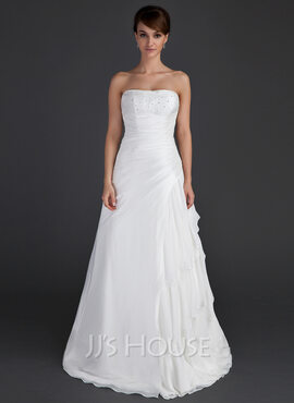 A-Line/Princess Strapless Floor-Length Taffeta Wedding Dress With Beading Cascading Ruffles (002012595)