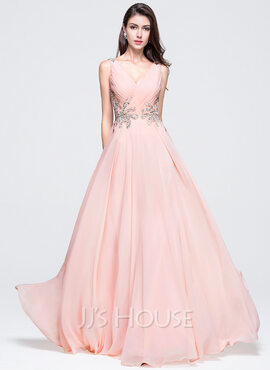 A-Line/Princess V-neck Floor-Length Chiffon Prom Dresses With Ruffle Beading Sequins (018070387)