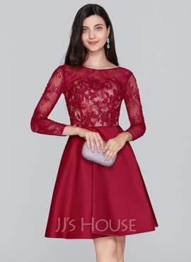 A-Line Scoop Neck Knee-Length Satin Homecoming Dress (022124879)