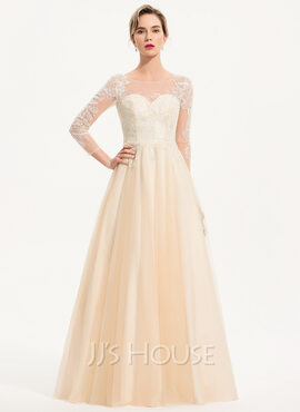 A-Line Scoop Neck Floor-Length Tulle Evening Dress (017186117)