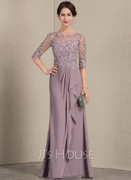A-Line Scoop Neck Floor-Length Chiffon Lace Mother of the Bride Dress With Cascading Ruffles (008143387)