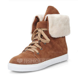 Women's Suede Flat Heel Closed Toe Boots Mid-Calf Boots Snow Boots Martin Boots With Lace-up shoes (088176494)