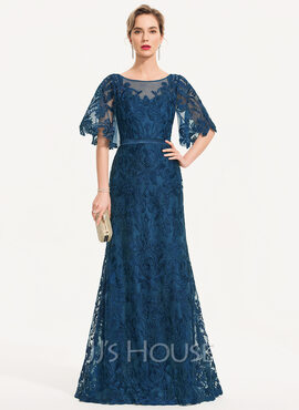 Sheath/Column Scoop Neck Floor-Length Lace Evening Dress (017186118)