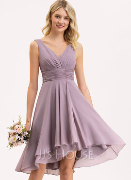 A-Line V-neck Asymmetrical Chiffon Bridesmaid Dress With Ruffle (007206471)