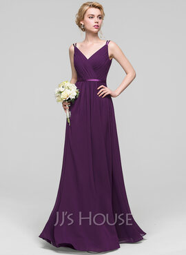 A-Line/Princess V-neck Floor-Length Chiffon Bridesmaid Dress With Ruffle (007090149)
