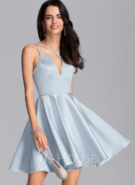 A-Line V-neck Short/Mini Satin Homecoming Dress (022206531)
