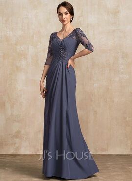A-Line V-neck Floor-Length Chiffon Lace Mother of the Bride Dress With Ruffle Beading Sequins (008217323)