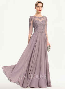 A-Line Scoop Neck Floor-Length Chiffon Evening Dress (017186160)