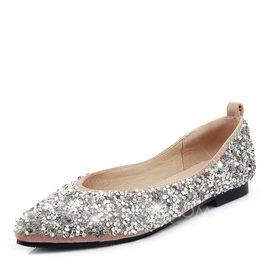 Kvinnor Glittrande Glitter Flat Heel Platta Skor / Fritidsskor Stängt Toe med Paljetter skor