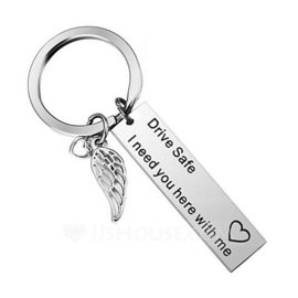 Classic/Simple Rectangular Stainless Steel Keychains (051189662)