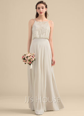 A-Line/Princess Square Neckline Floor-Length Chiffon Lace Bridesmaid Dress (266183760)