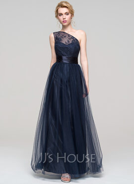 A-Line/Princess One-Shoulder Floor-Length Tulle Bridesmaid Dress With Ruffle (007090144)