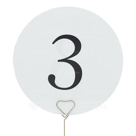 Round Pearl Paper Table Number Cards (Set of 10) (118032274)