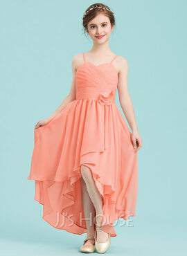A-Line Sweetheart Asymmetrical Chiffon Junior Bridesmaid Dress With Ruffle Flower(s) (009148409)