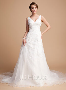 A-Line/Princess V-neck Chapel Train Satin Organza Wedding Dress With Ruffle Beading Appliques Lace (002000378)