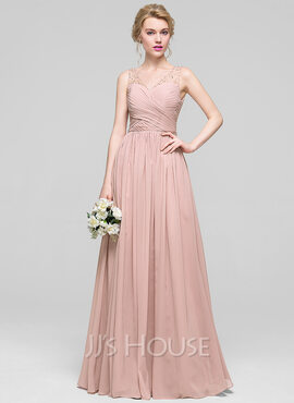 A-Line/Princess V-neck Floor-Length Chiffon Evening Dress With Ruffle Beading Sequins (017096362)