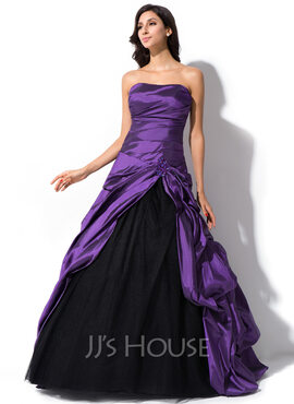 Ball-Gown Sweetheart Sweep Train Taffeta Tulle Quinceanera Dress With Ruffle Beading Sequins (021055195)