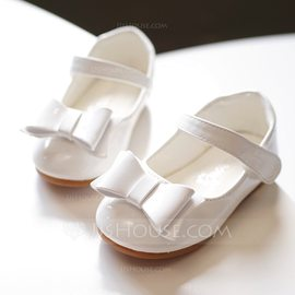 Girl's Round Toe Closed Toe Leatherette Flat Heel Flats Flower Girl Shoes With Bowknot Velcro (207176659)