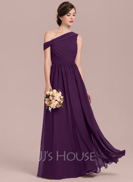 A-Line/Princess Off-the-Shoulder Floor-Length Chiffon Bridesmaid Dress With Ruffle (266177066)
