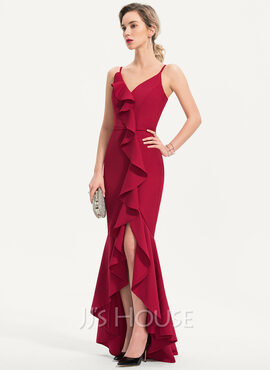 Trumpet/Mermaid V-neck Asymmetrical Stretch Crepe Evening Dress With Cascading Ruffles (017186137)