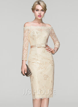 Sheath/Column Off-the-Shoulder Knee-Length Lace Cocktail Dress With Bow(s) (016094357)