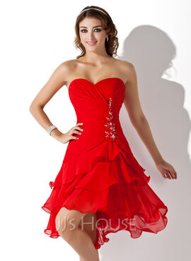 A-Line Sweetheart Asymmetrical Chiffon Homecoming Dress (022009369)