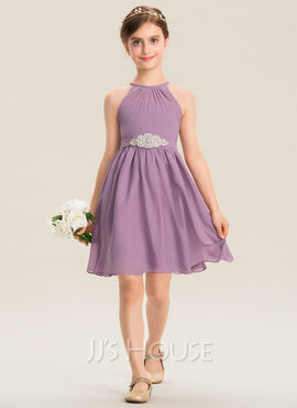 A-Line Scoop Neck Knee-Length Chiffon Junior Bridesmaid Dress With Ruffle Beading (009173290)
