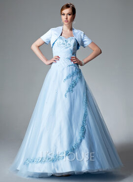 Ball-Gown Sweetheart Floor-Length Tulle Quinceanera Dress With Ruffle Beading Appliques Lace (021004551)