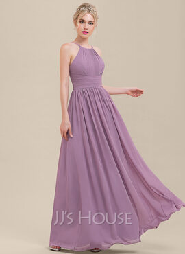 A-Line/Princess Scoop Neck Floor-Length Chiffon Bridesmaid Dress With Ruffle (007126483)